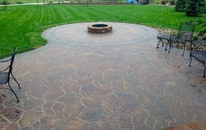 Concrete Patio With Wood Fire Pit